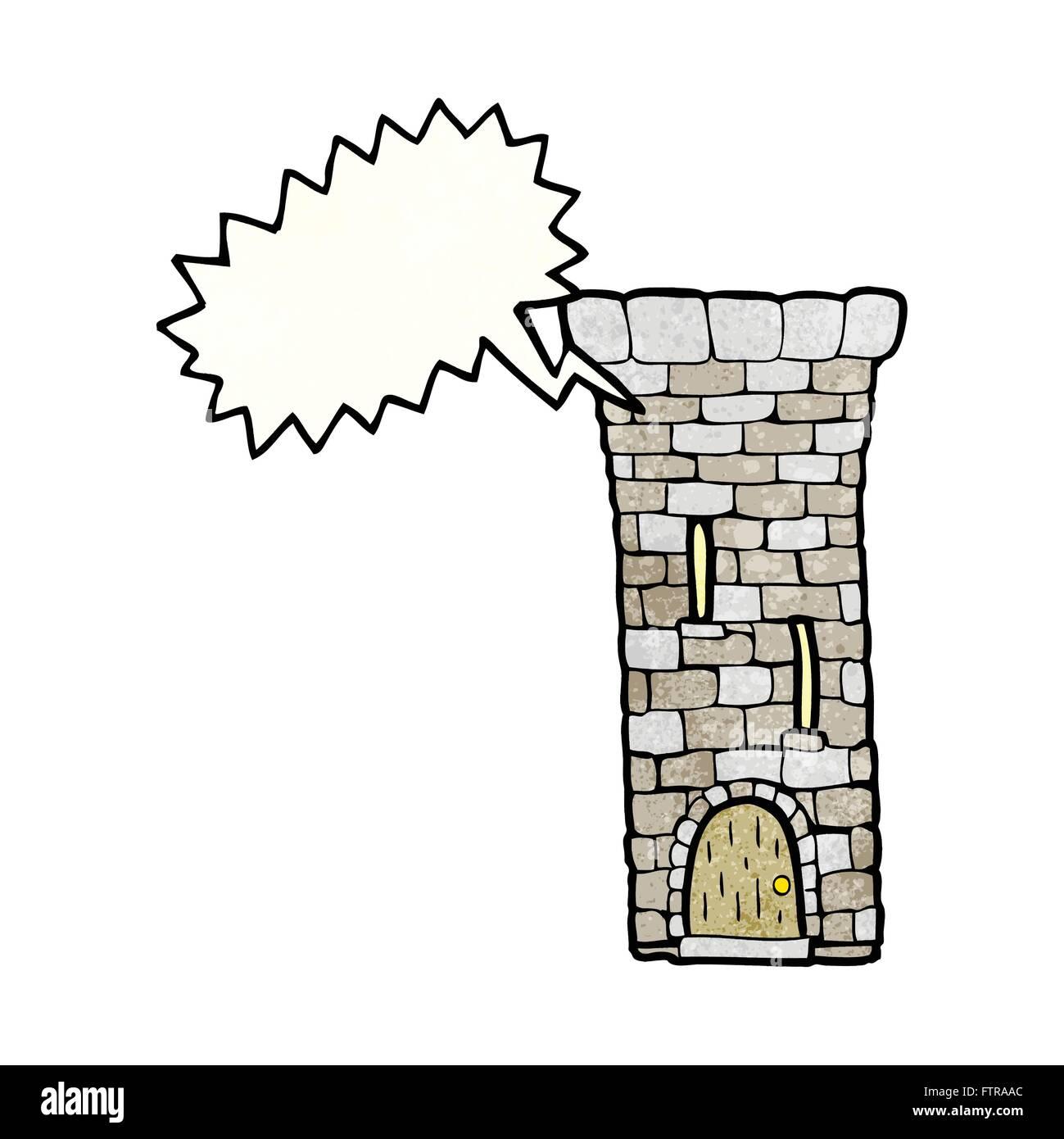 freehand speech bubble textured cartoon old castle tower FTRAAC freehand speech bubble textured cartoon old castle tower stock