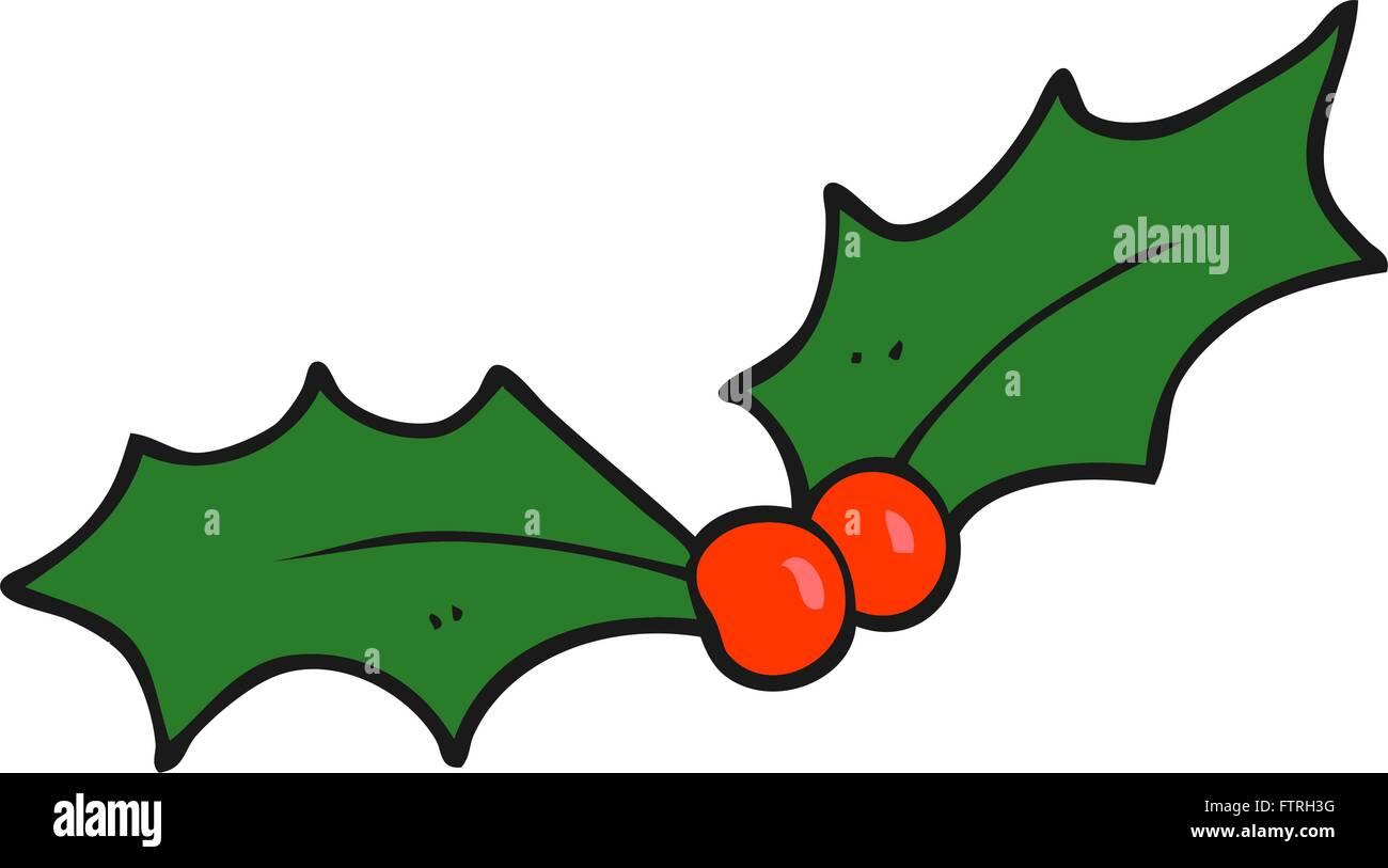 Christmas Holly Cartoon.Freehand Drawn Cartoon Christmas Holly Stock Vector Art