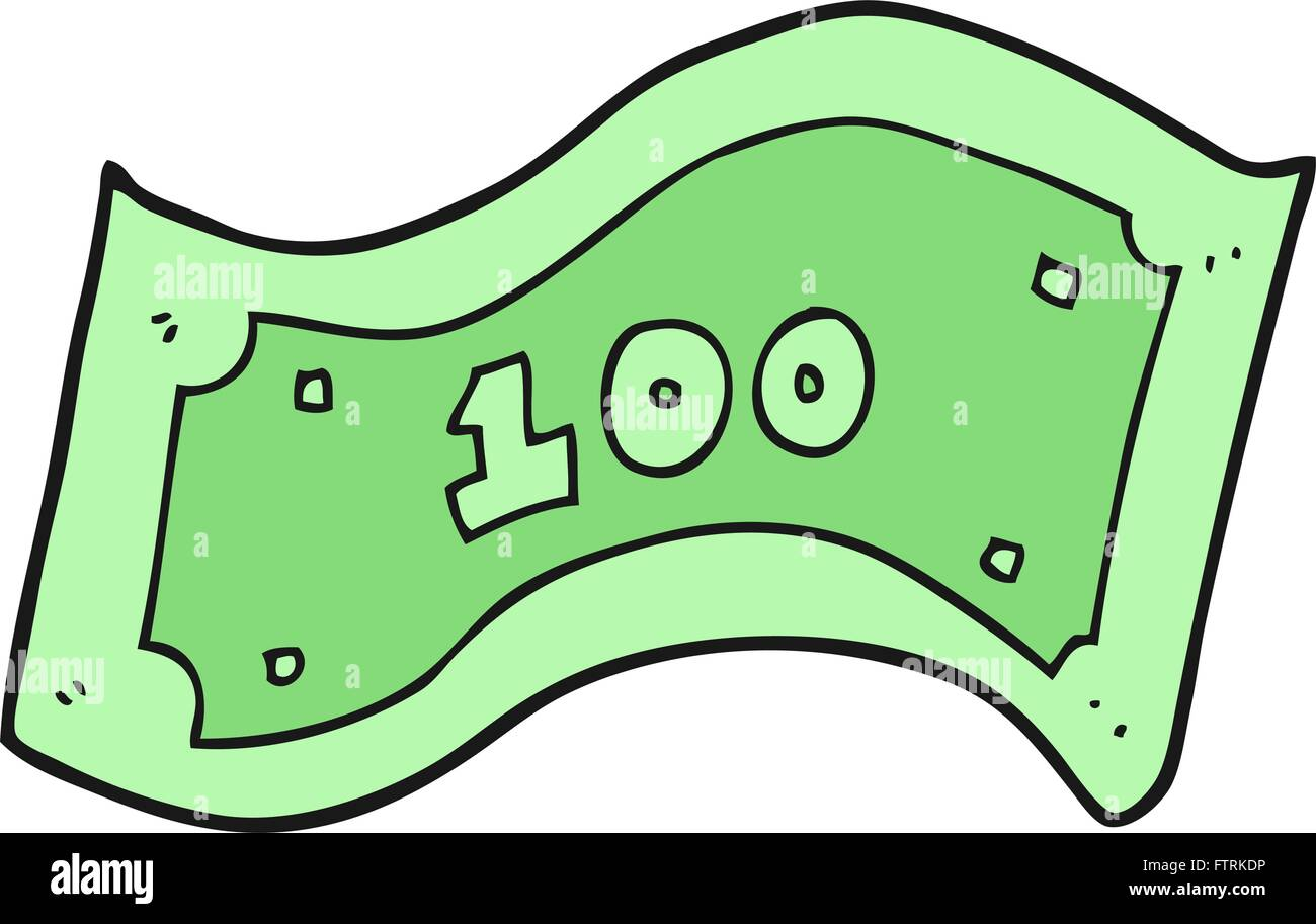 freehand drawn cartoon 100 dollar bill stock vector art rh alamy com  canadian 100 dollar bill vector