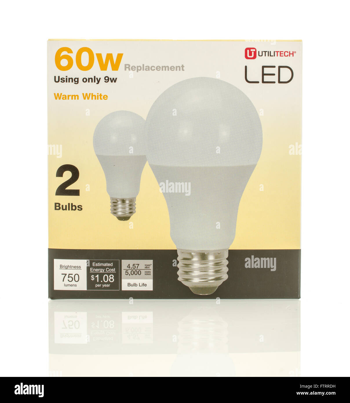 Winneconne, WI - 29 March 2016:  A box of 60w LED lightbulbs made by Ulititech. - Stock Image