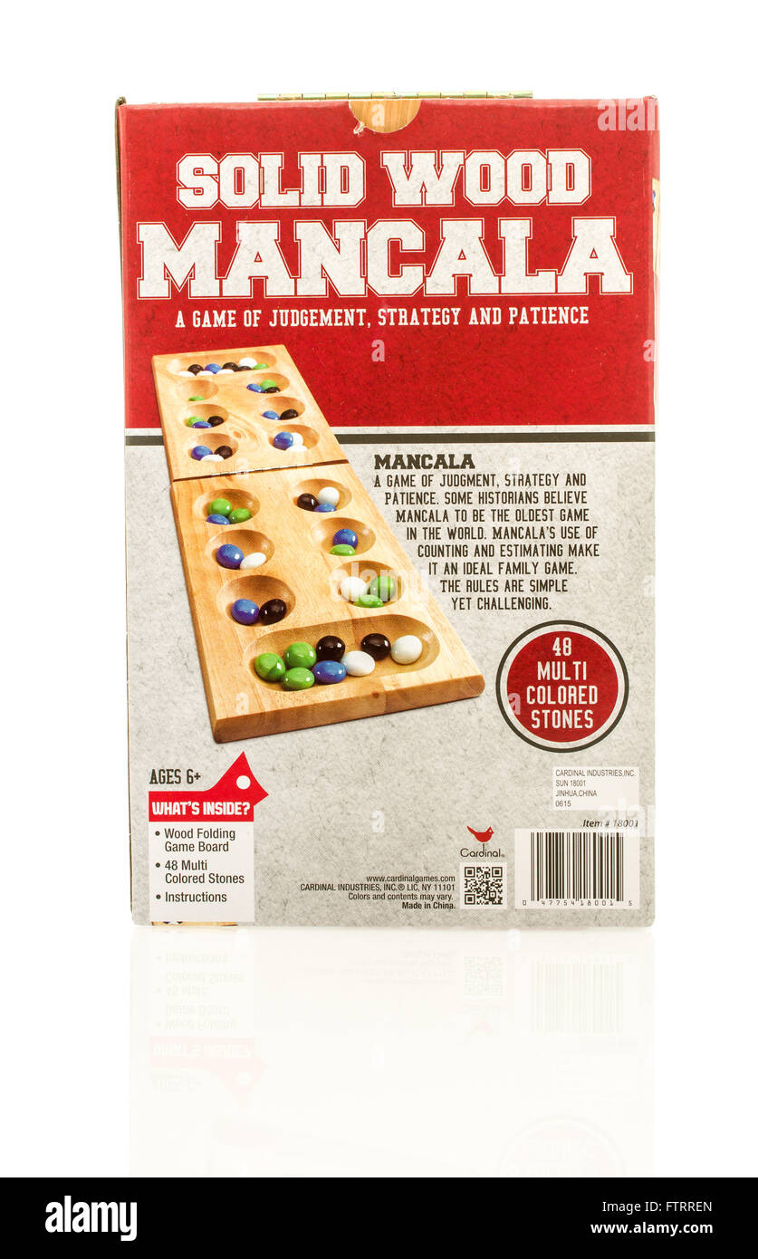 Winneconne, WI - 29 March 2016:  A box of the popular game mancala made by Cardinal Industries. - Stock Image