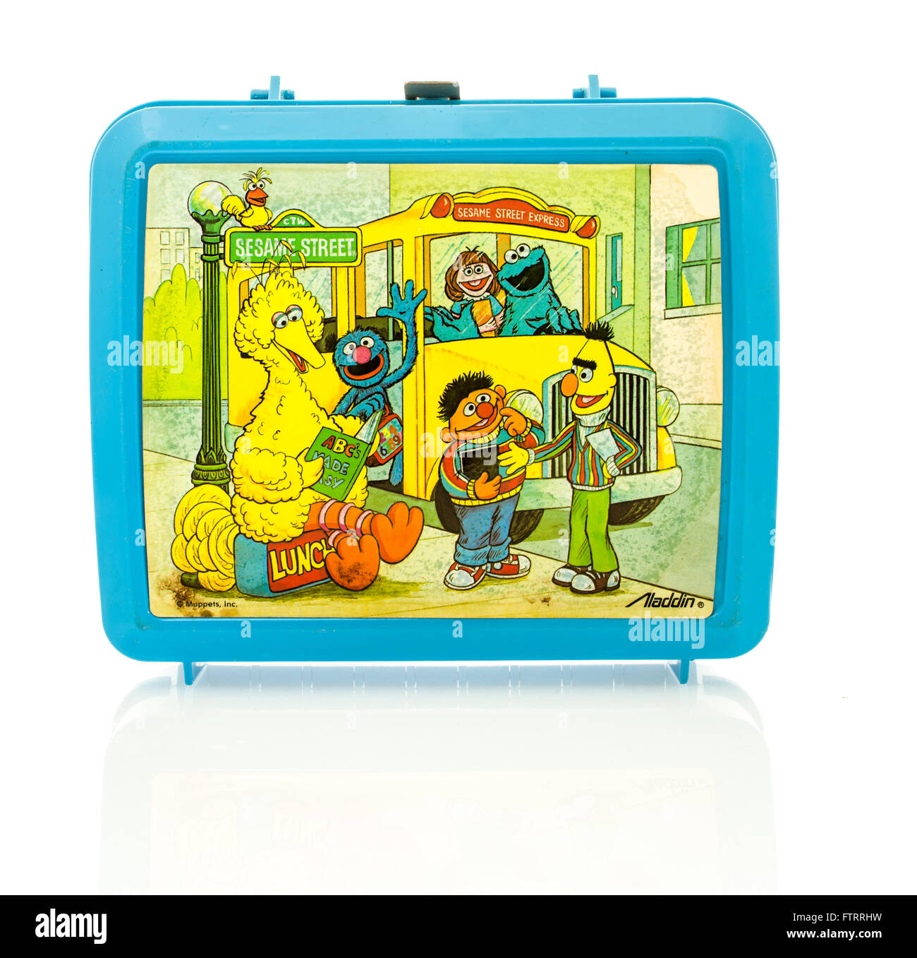 Winneconne, WI - 29 March 2016:  Plastic lunch box from the 1980's featuring Sesame Street characters.  A popular Stock Photo