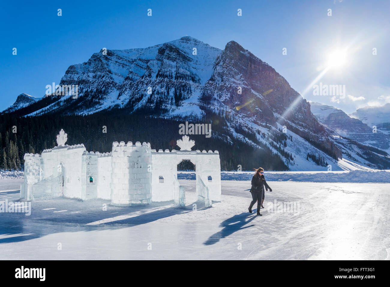 Ice Castle, Lake Louise in winter, Banff National Park, Alberta, Canada - Stock Image