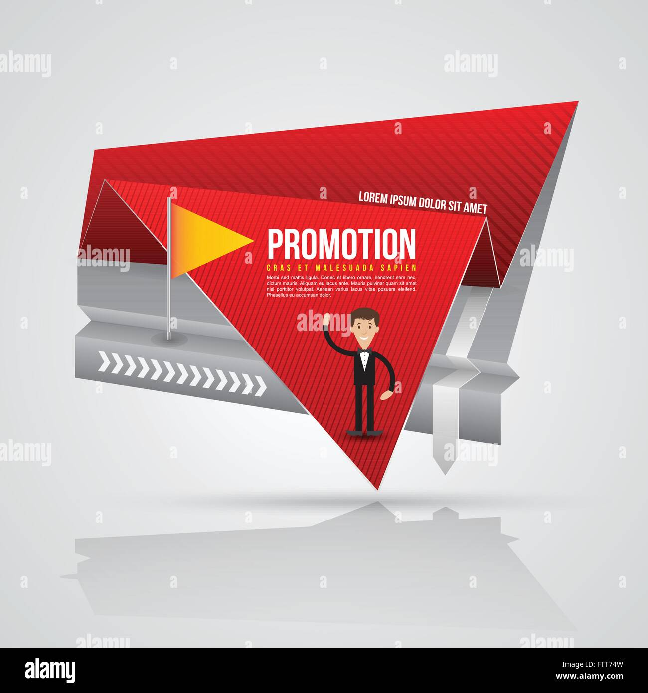 Paper Origami Banner With Business Man Vector Illustration Can Use For Promotion Advertising On Printing And Website