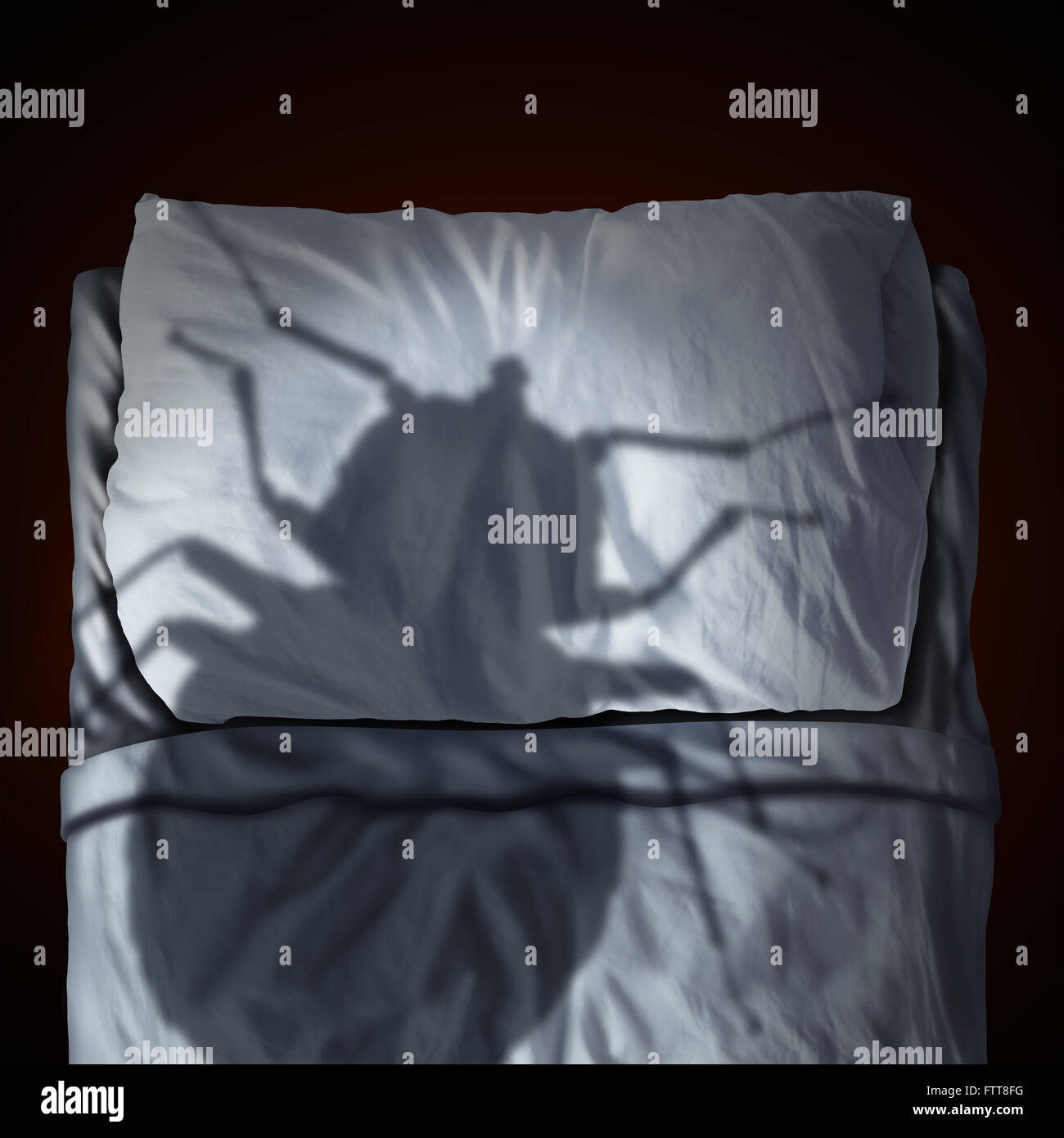 Bed bug fear or bedbug worry concept as a cast shadow of a a parasitic insect pest resting on a pillow and sheets - Stock Image