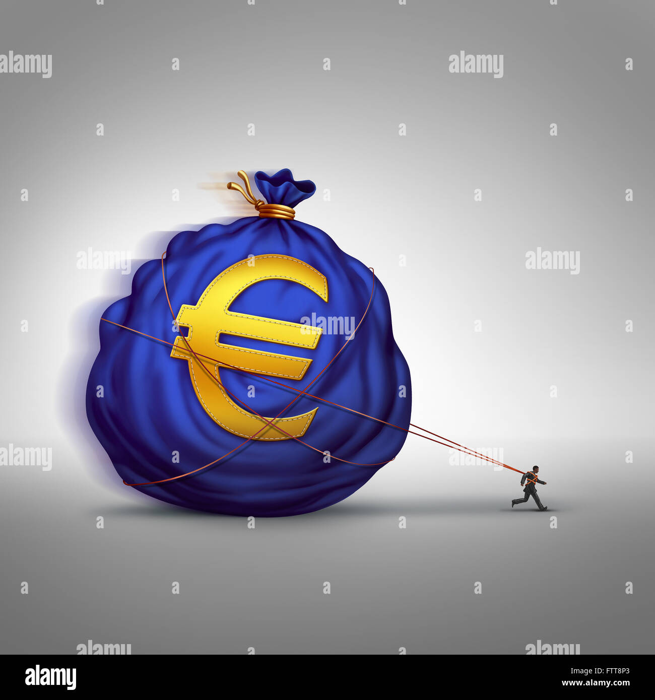 European financial stress managing wealth business concept as a businessman dragging a big bag of euro currency - Stock Image