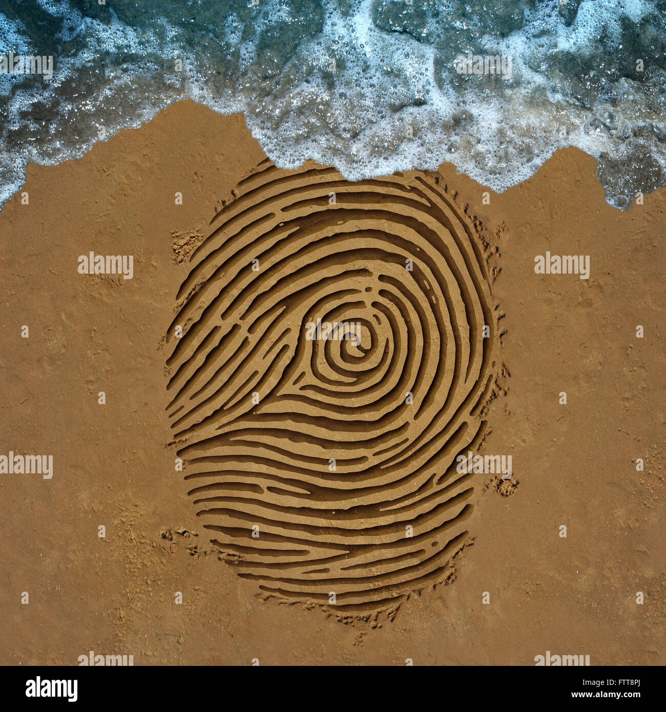 Identity crisis concept as a finger print pattern on beach sand with an ocean wave washing away the information - Stock Image