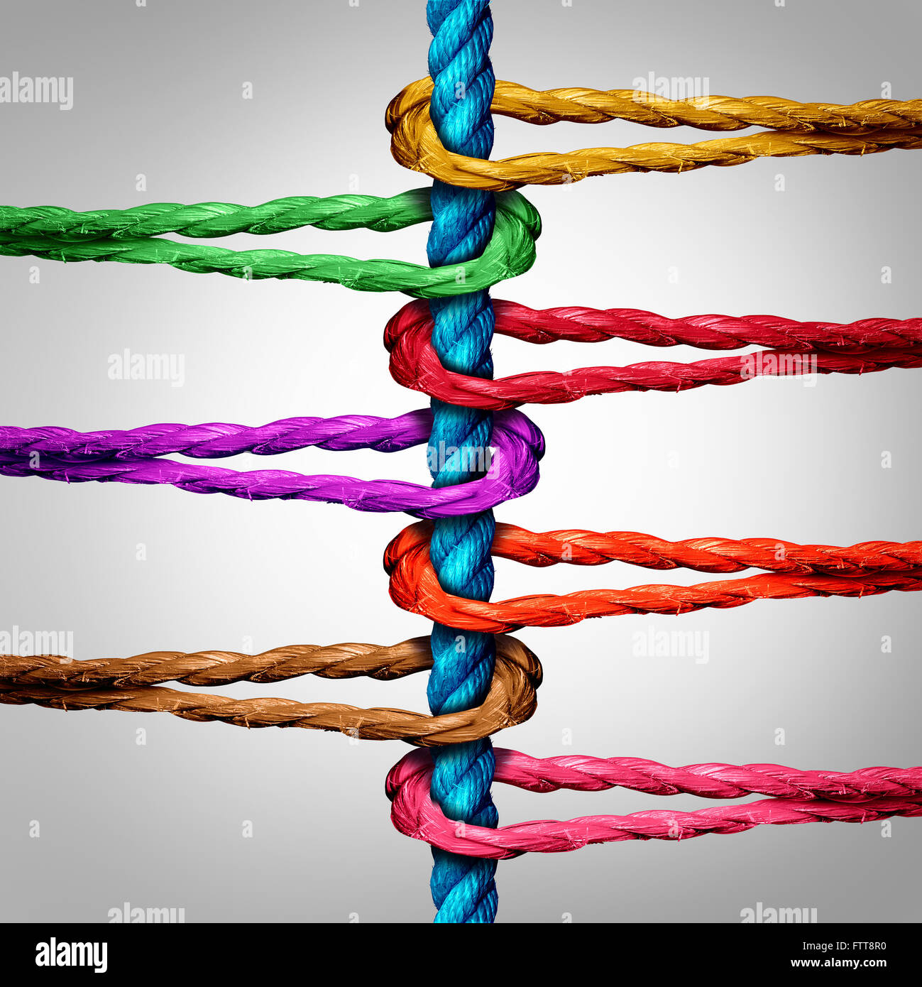 Central connection business concept as a group of diverse ropes connected to a central rope as a network metaphor - Stock Image