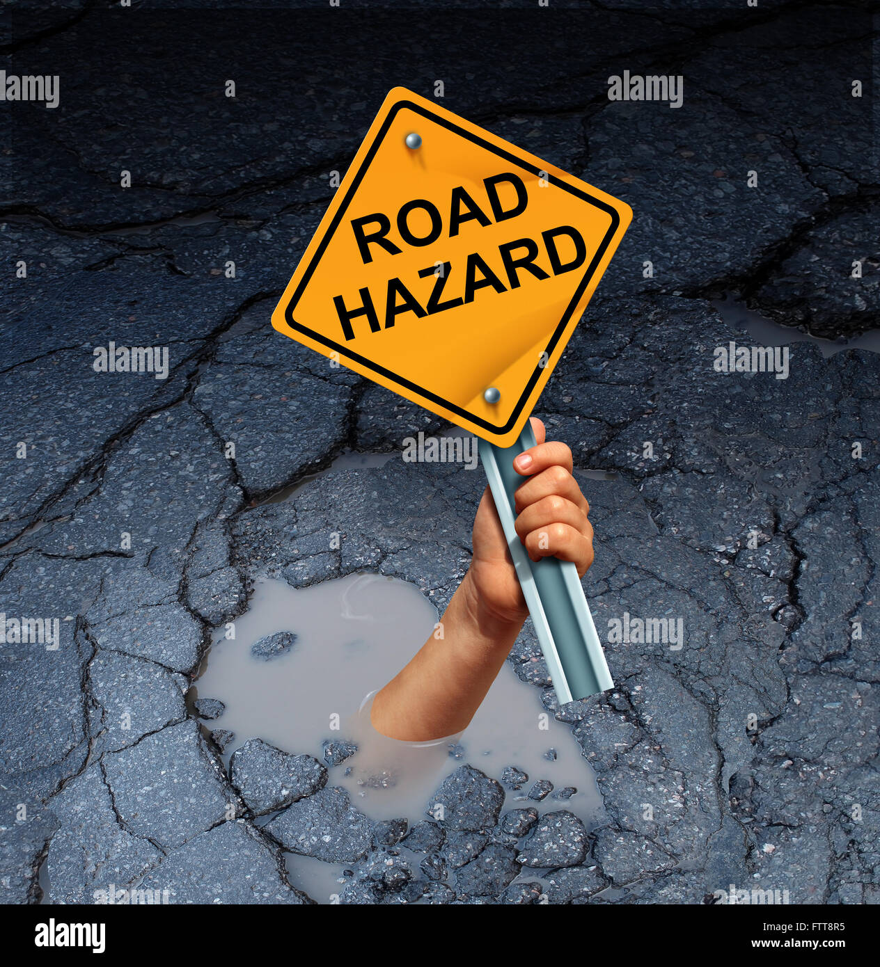 Road hazard concept as an accident victim drowning in a broken street pothole while holding a traffic sign as a - Stock Image