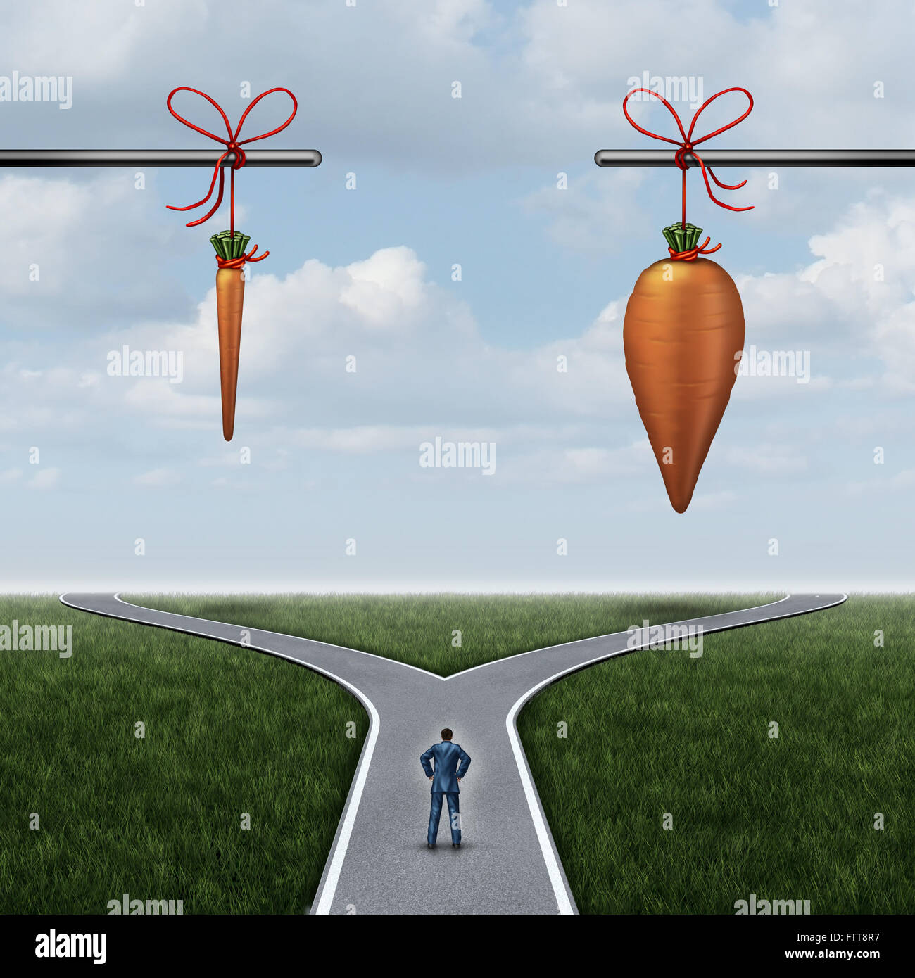 Incentive concept as a carrot and stick metaphor with a businessman at a crossroad with a small reward. - Stock Image