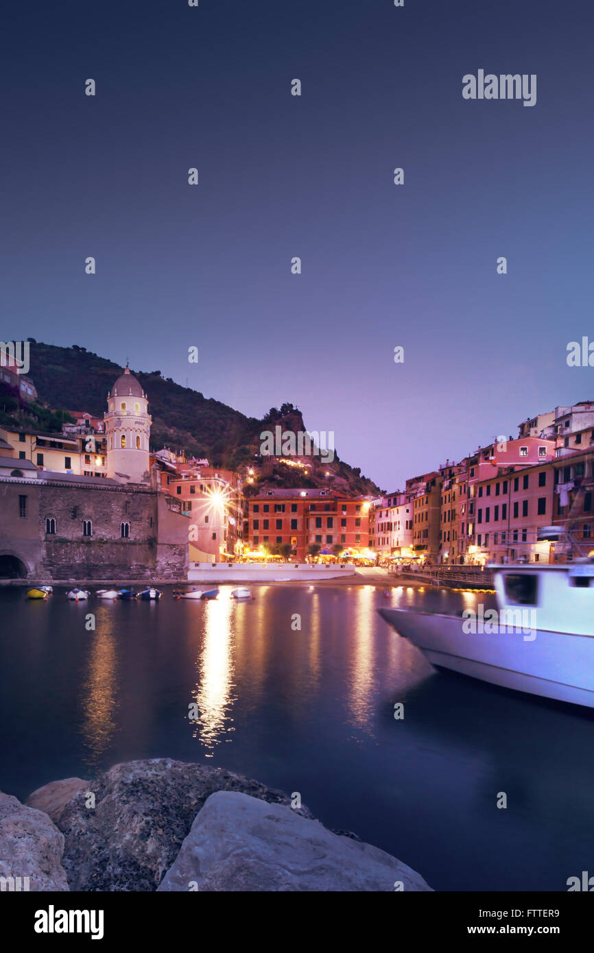 Vernazza, Cinque Terre, blue hour - Stock Image