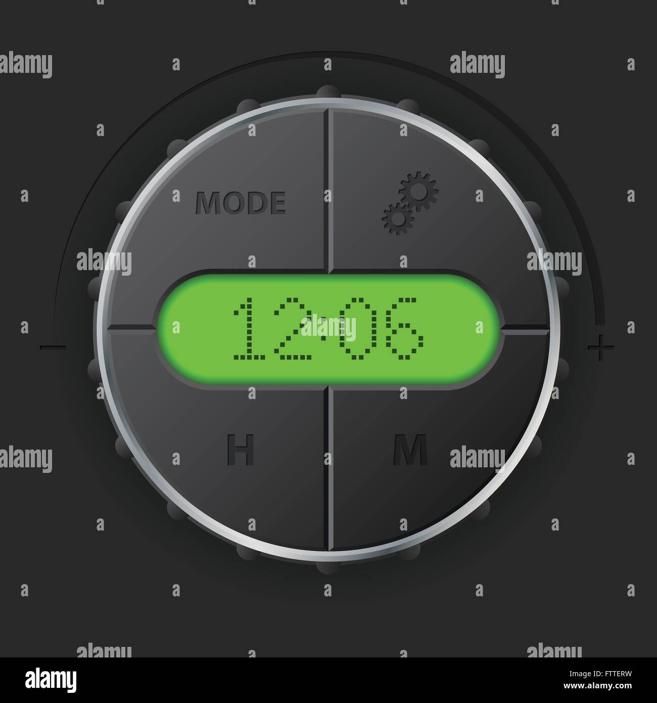 Digital clock with green lcd and setting buttons for car dashboard ...