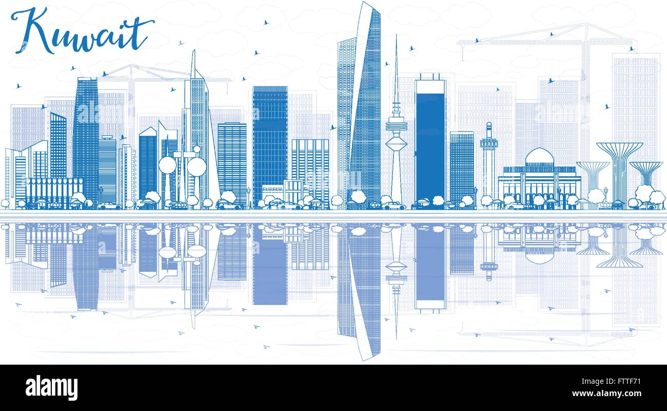 Blueprint art graphic skyline stock photos blueprint art graphic outline kuwait city skyline with blue buildings and reflections vector illustration business travel and malvernweather Images