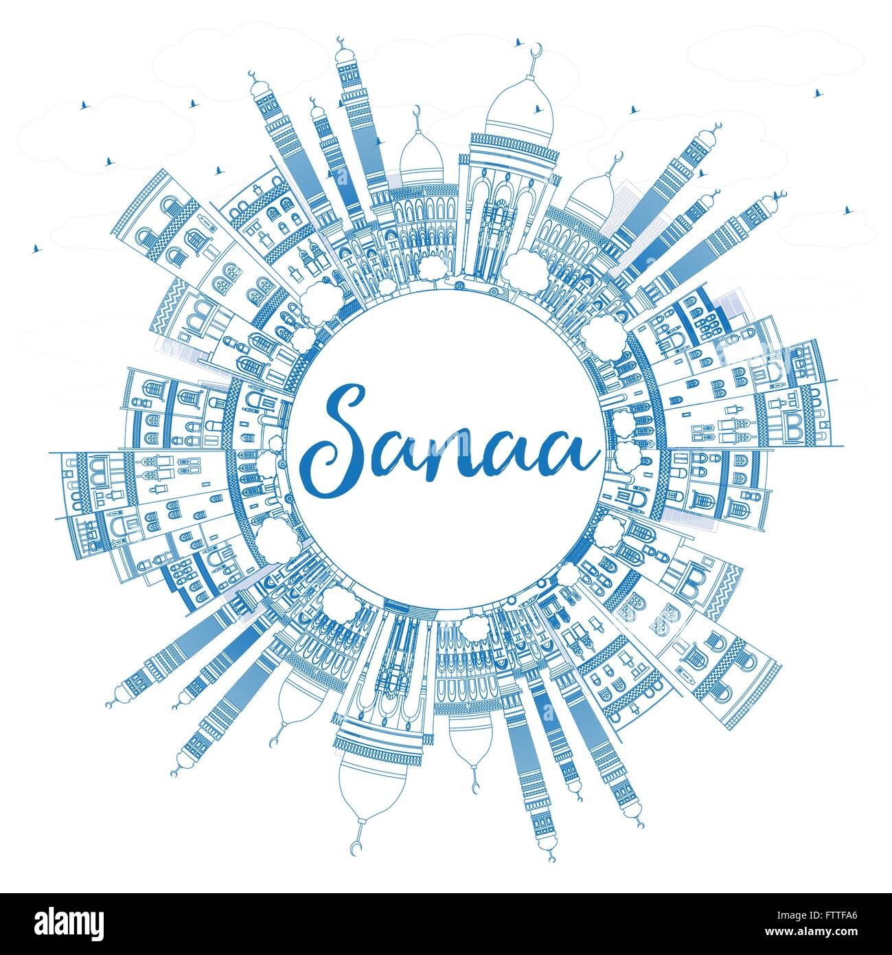 Outline Sanaa (Yemen) Skyline with Blue Buildings. Vector Illustration. Business Travel and Tourism Concept with - Stock Image