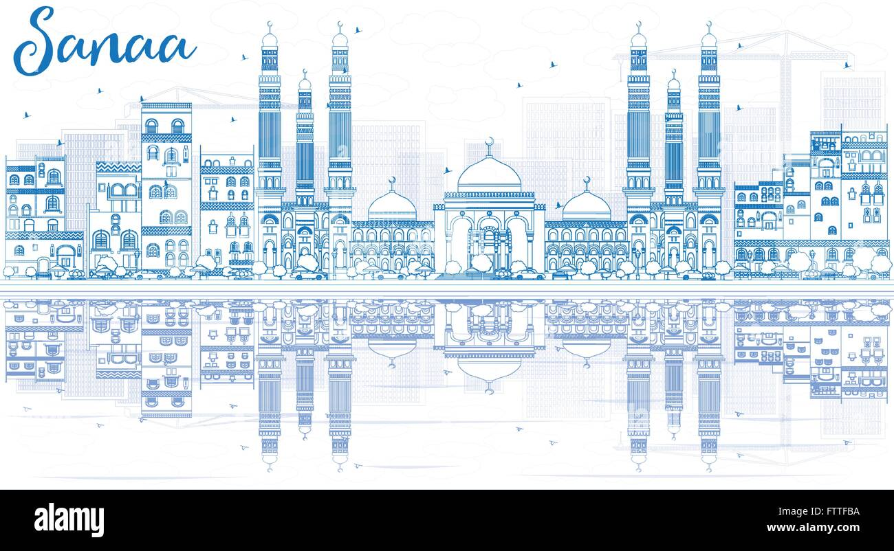 Outline Sanaa (Yemen) Skyline with Blue Buildings and Reflections. Vector Illustration. Business Travel and Tourism - Stock Vector