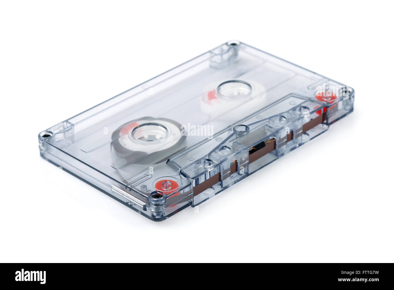 Audio cassette tape isolated on white - Stock Image