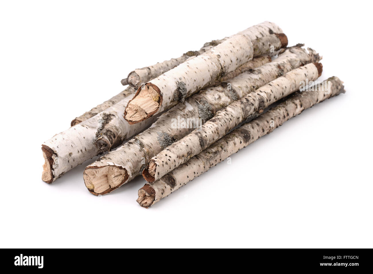 Pile of dry birch twigs isolated on white - Stock Image