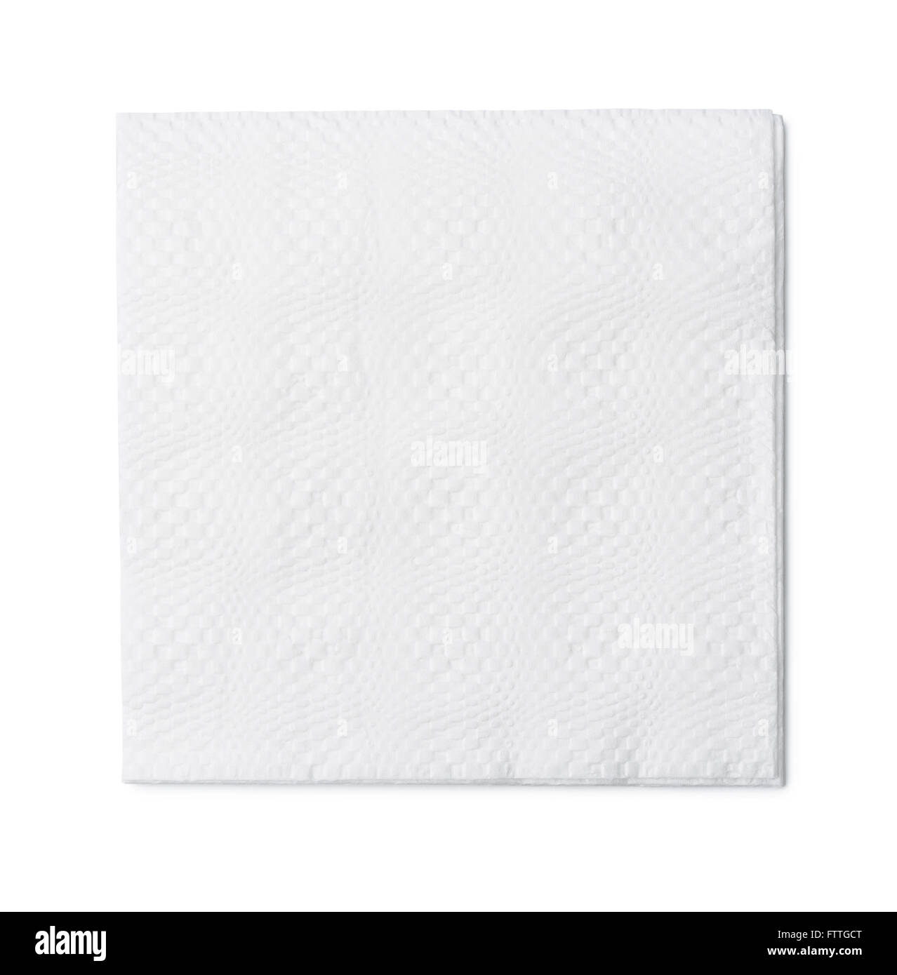 Top view of white paper napkin isolated on white - Stock Image