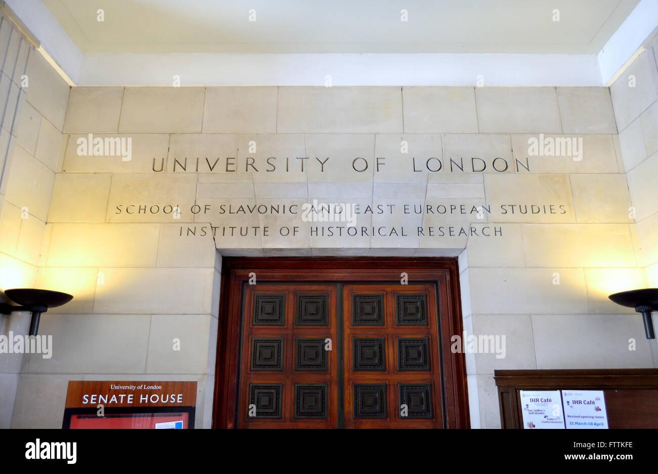 London, England, UK. Senate House and Library, University of London, Bloomsbury. Ground floor entrance. School of - Stock Image