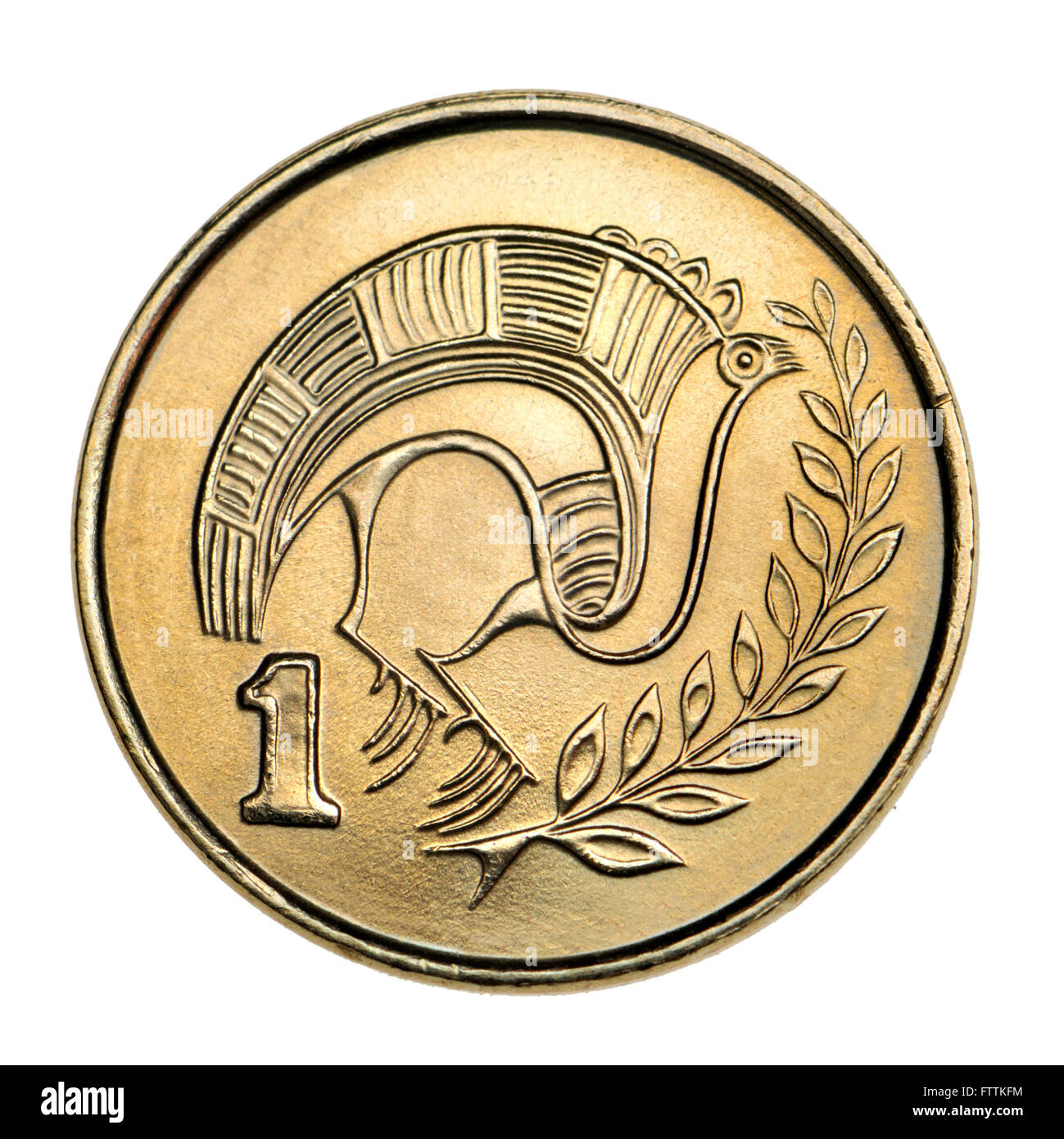 Pre-Euro coin of Cyprus: One cent showing Stylised bird perched on a branch from a jug of bichrome ware from the Stock Photo