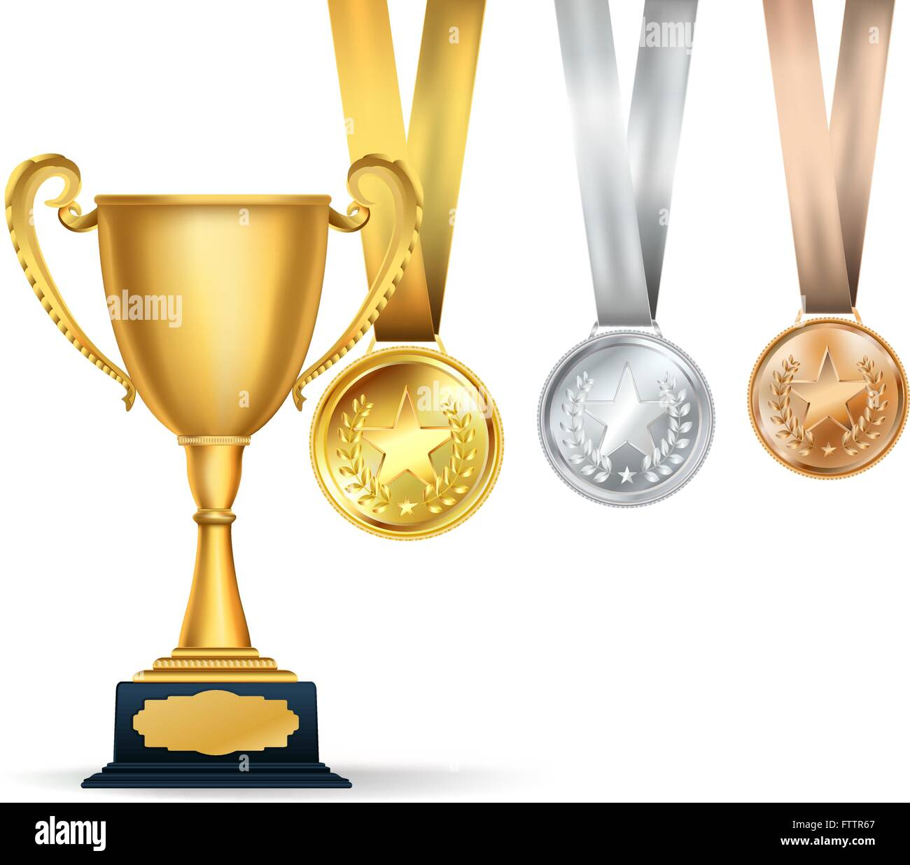 Golden Trophy Cup And Set Of Medals With Ribbons On White Background Sports Competition Awards Composition Vector Design