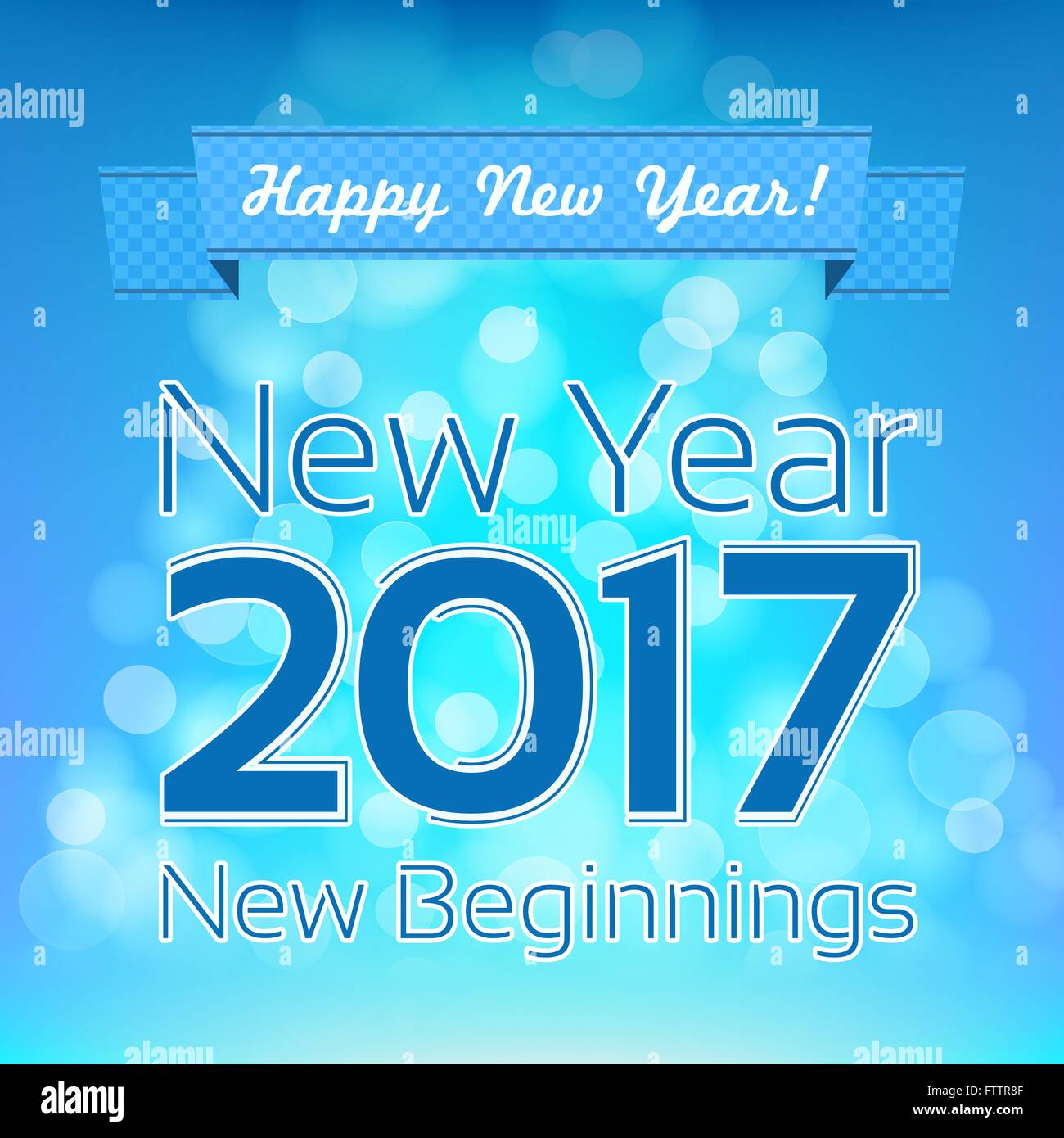 happy new year greeting vector design template new year 2017 new beginnings aqua and blue colors blurred background