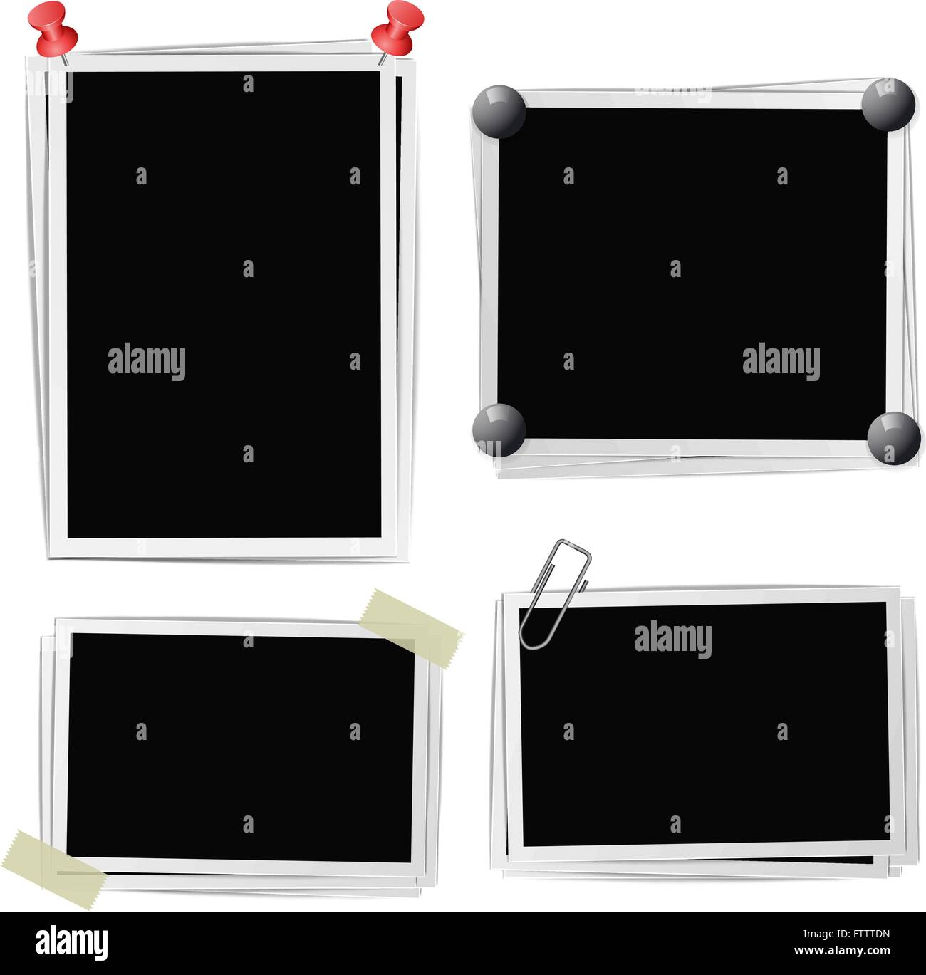 Set of photo frames with pins, pushpins, adhesive tape, clips on white. Vector illustration Stock Vector