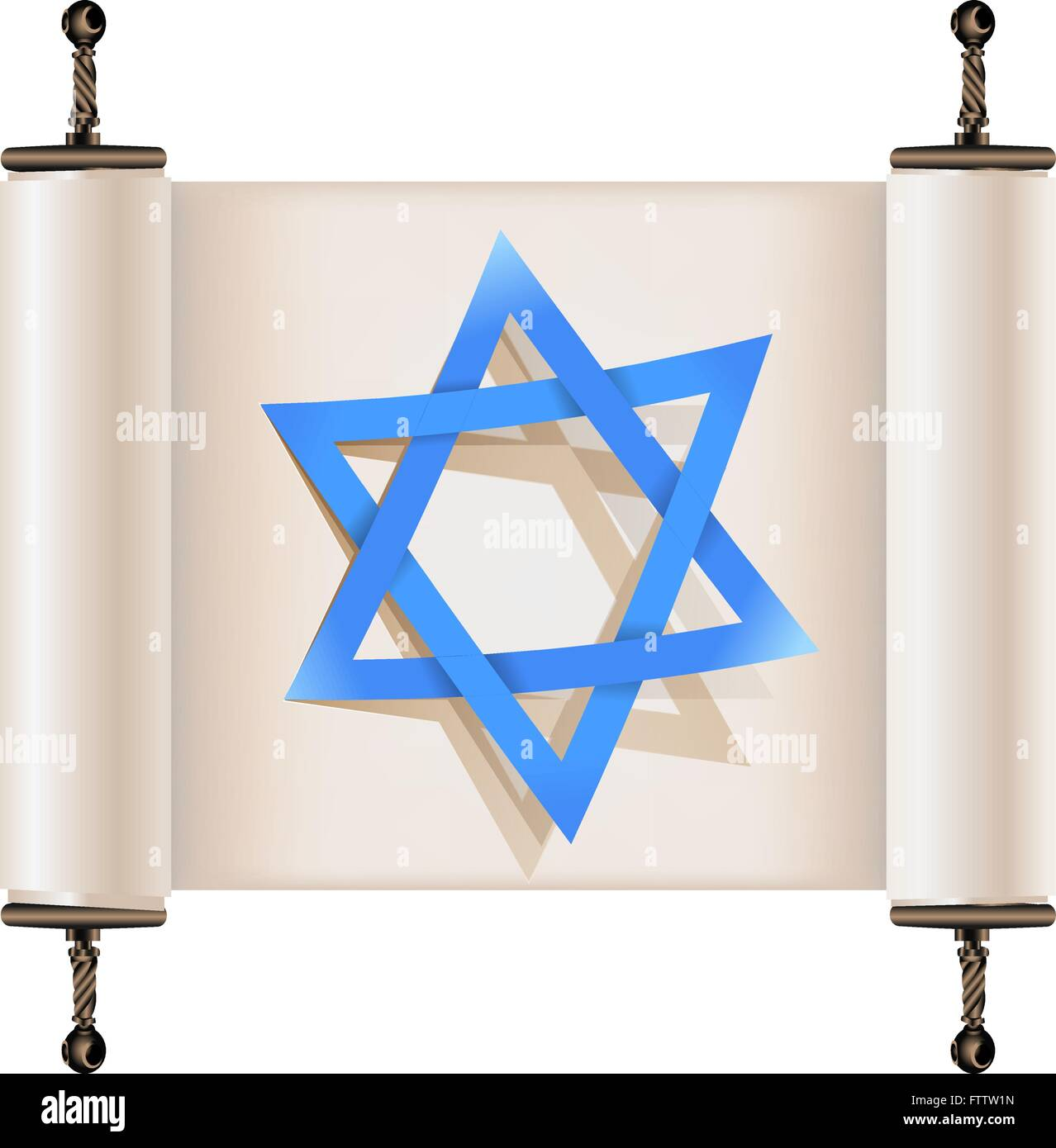 Star of David with shadow on Hebrew ancient scroll. Sign of Judaic religion and faith. Vector illustration - Stock Vector