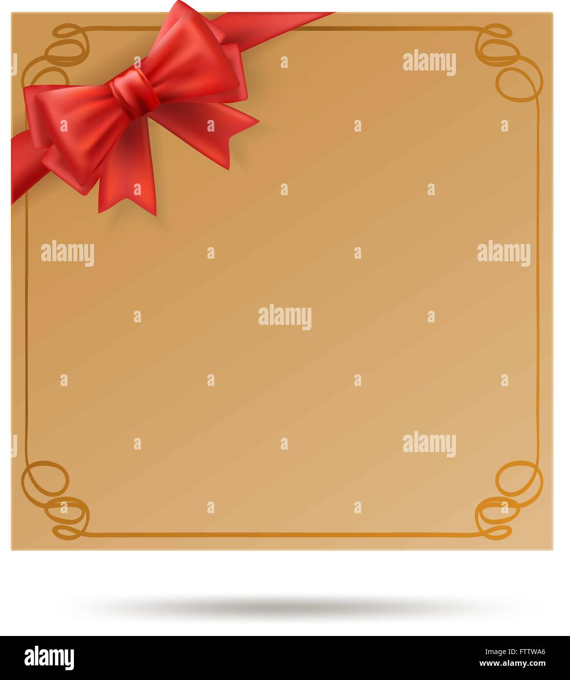 Gift Card With Golden Swirl Frame And Red Ribbon Red Bow Decoration