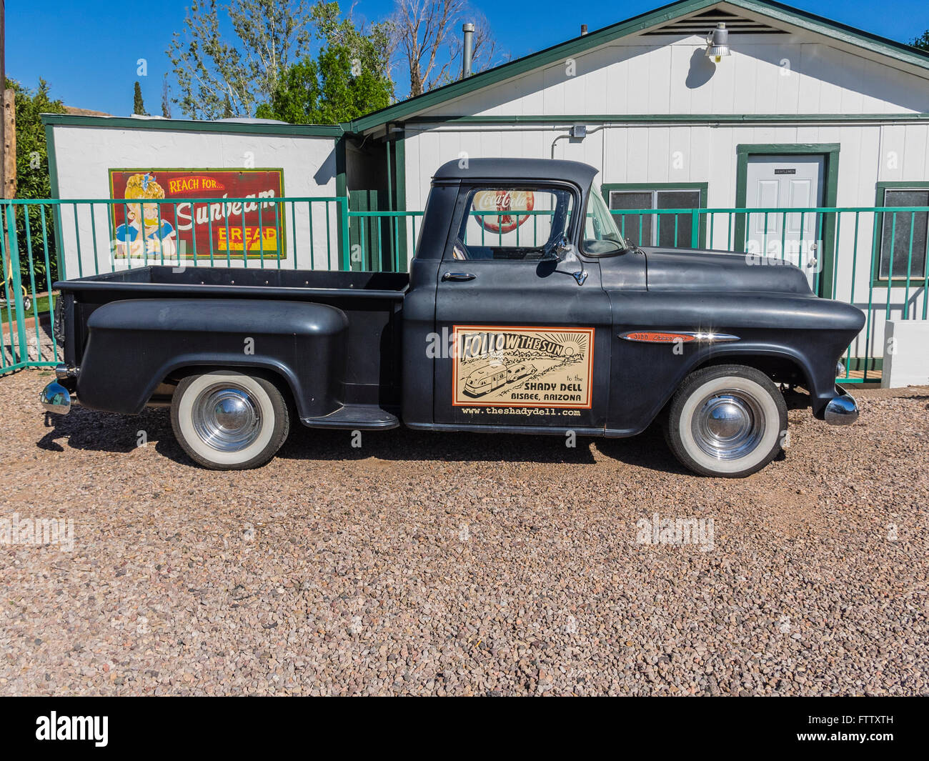 Pickup truck for the Shady Dell Trailer Park, Bisbee, AZ parked at the main office. Stock Photo