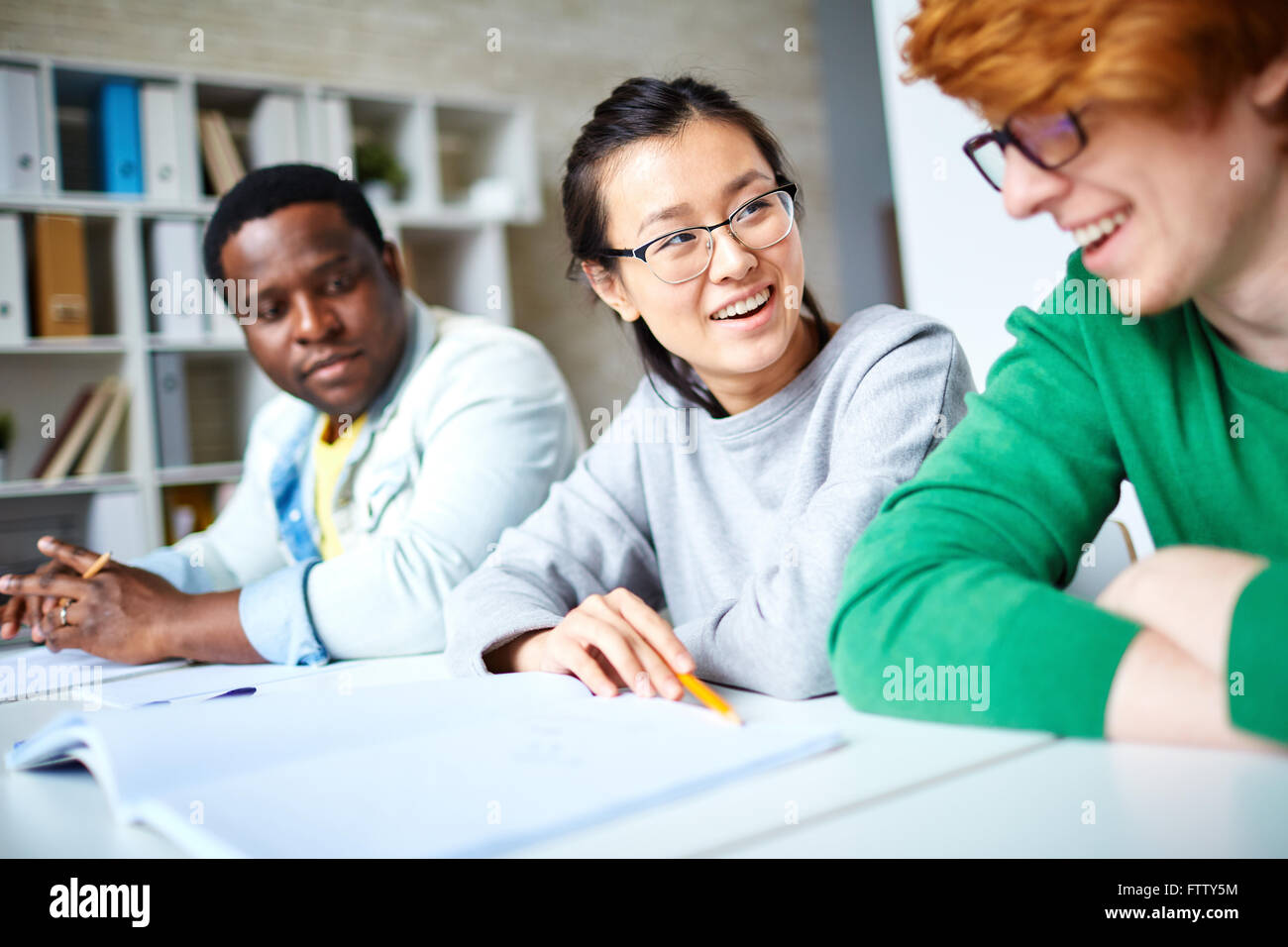 Students interacting - Stock Image