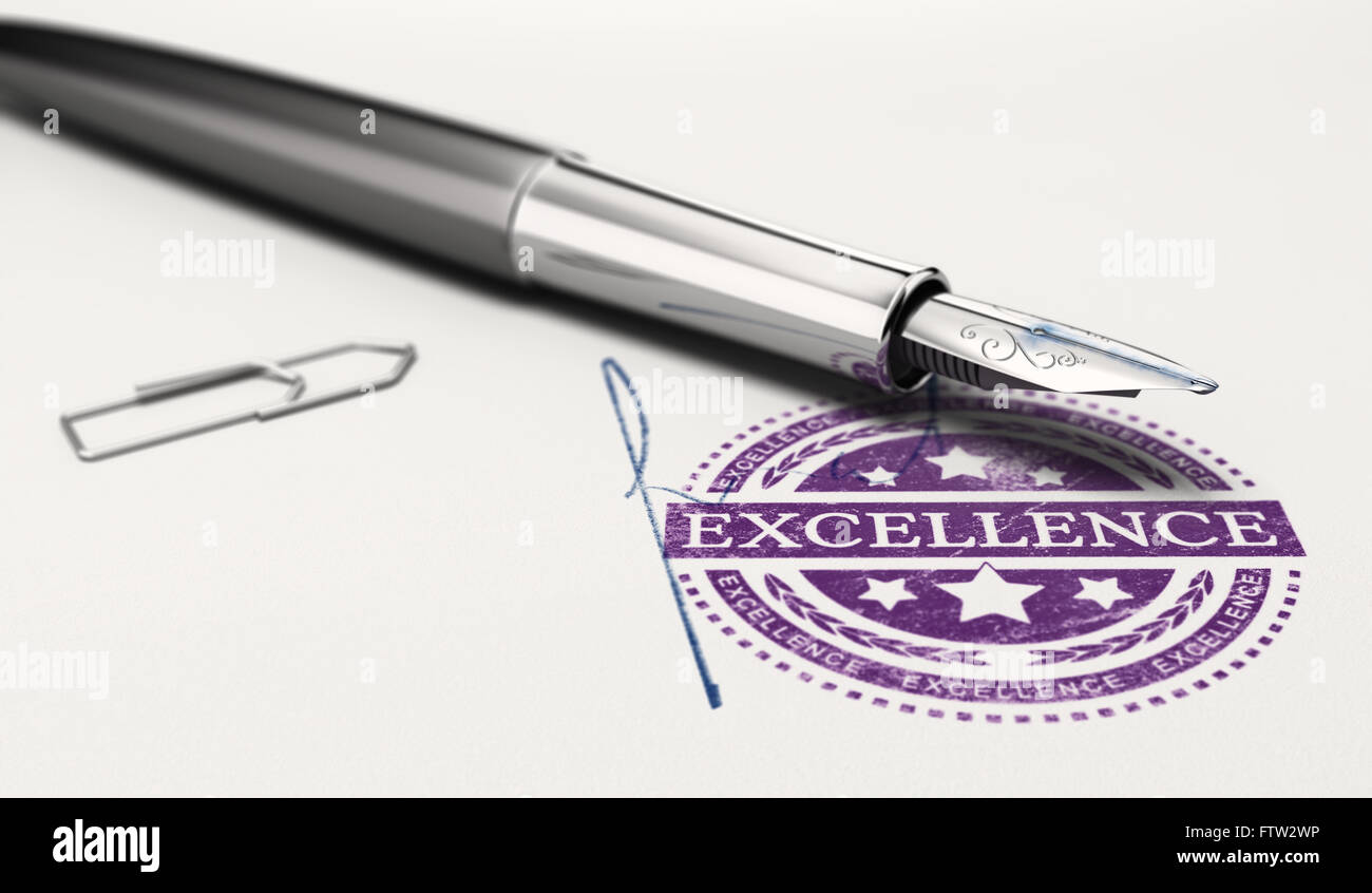 Excellence mark imprinted on a paper texture with signature and fountain pen. Concept image of personnal success - Stock Image