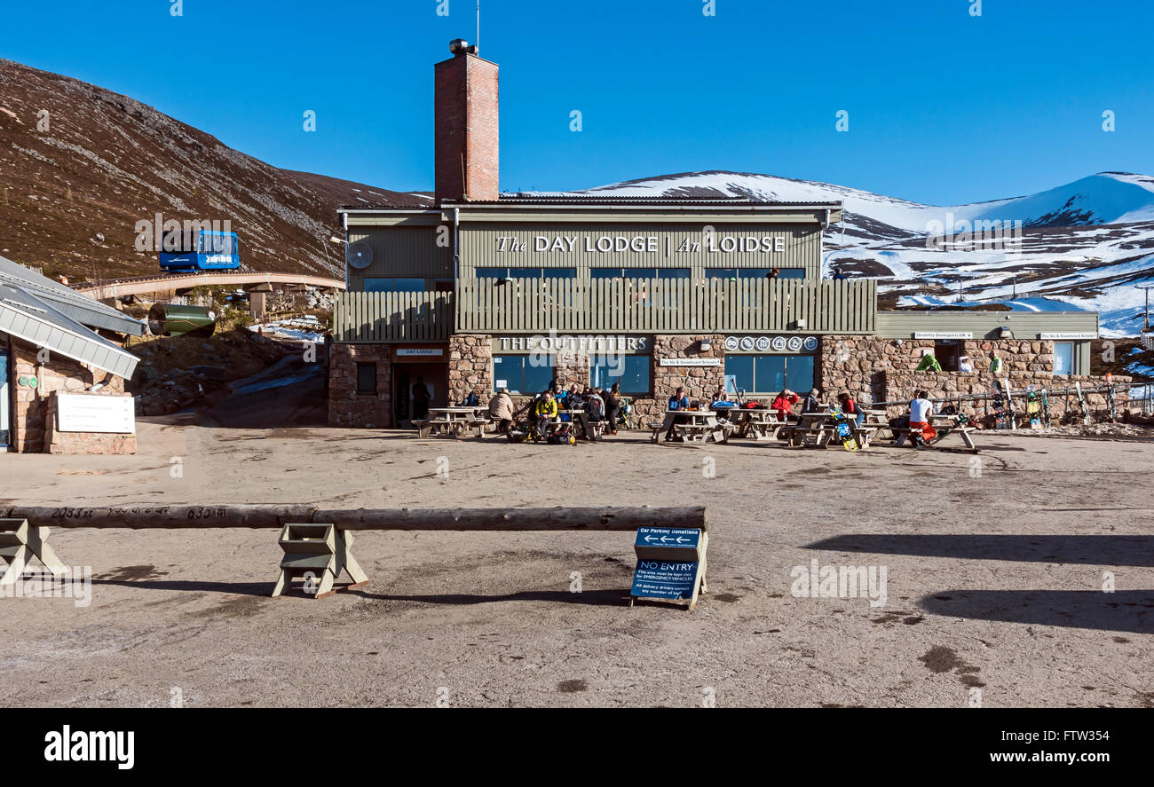 Cairngorm Mountain lower funicular railway installation on Cairn Gorm in Cairngorms National Park Scotland with Stock Photo