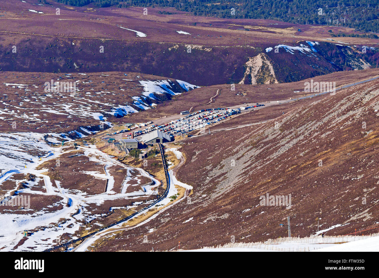 View towards Bottom Station from the Top Station of CairnGorm Mountain railway on Cairn Gorm Speyside Scotland Stock Photo