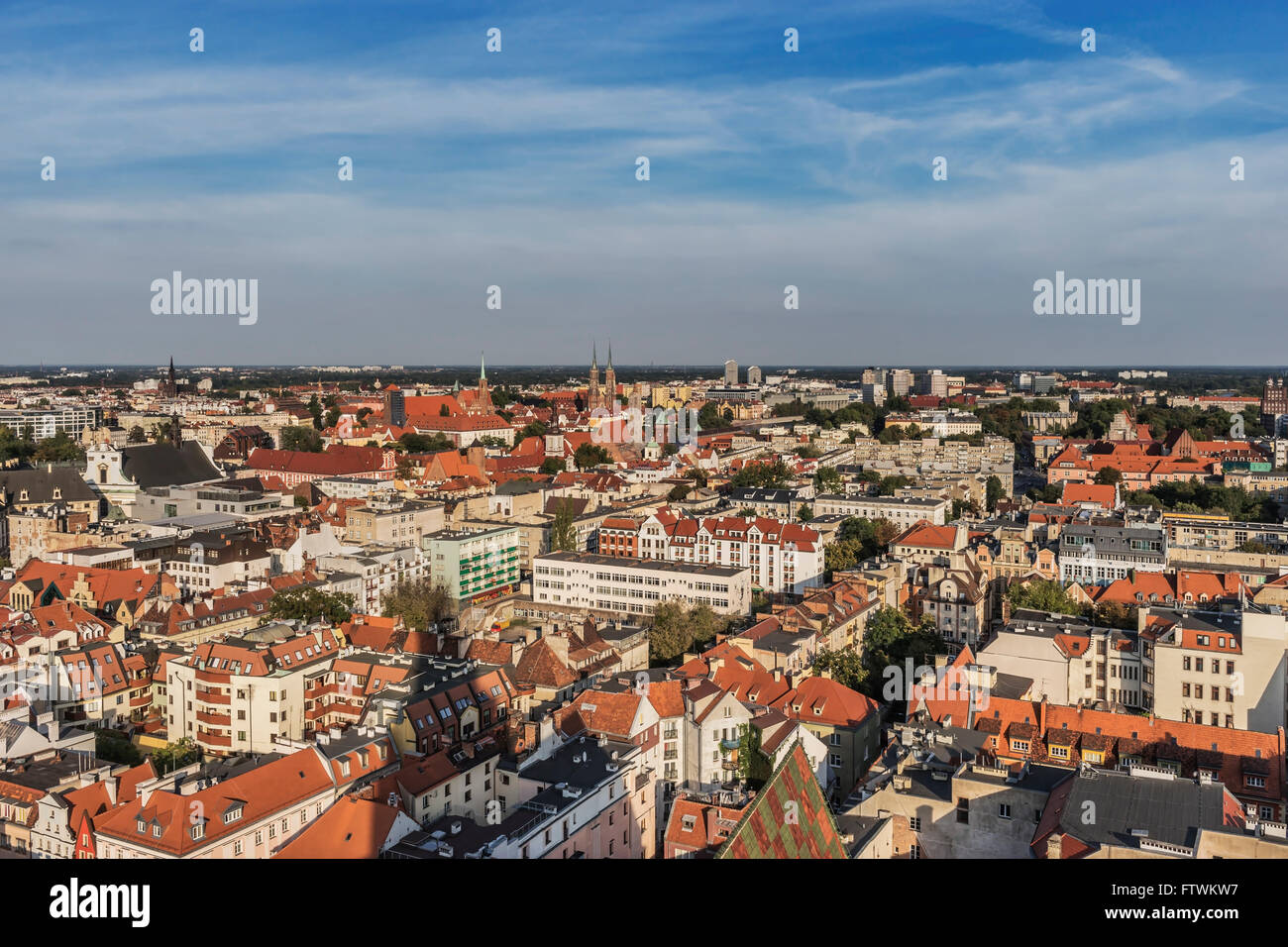 View from the tower of the St. Elizabeth Church on the city of Wroclaw, Voivodeship Lower Silesia, Poland, Europe - Stock Image