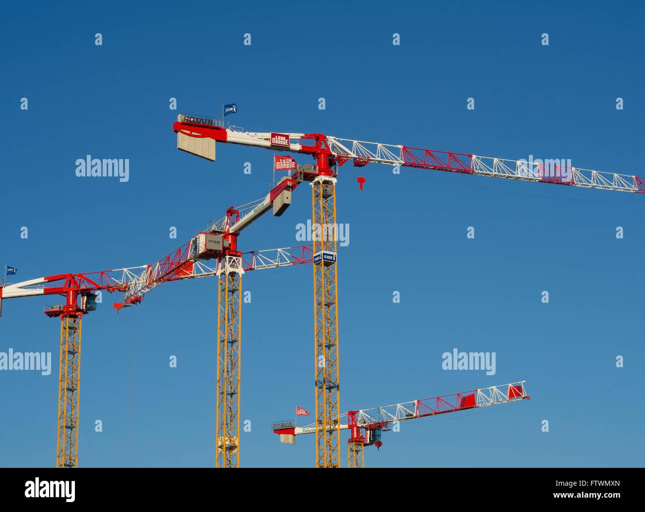 Tower cranes Potain ( Manitowok) - Stock Image