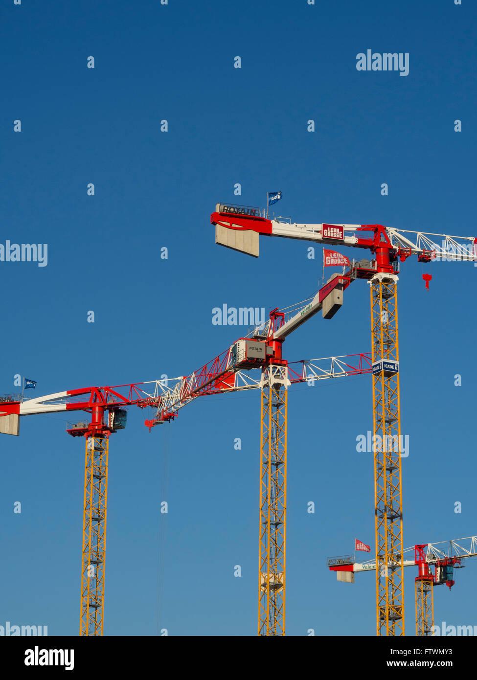 Tower cranes Potain  ( Manitowok ) - Stock Image