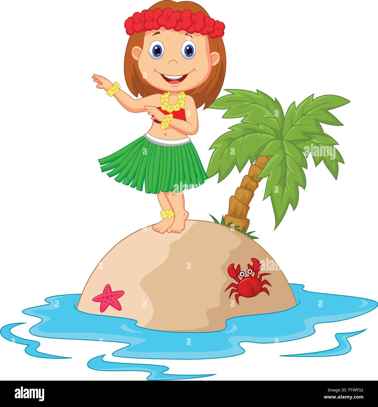 Hula girl in the tropical island - Stock Vector