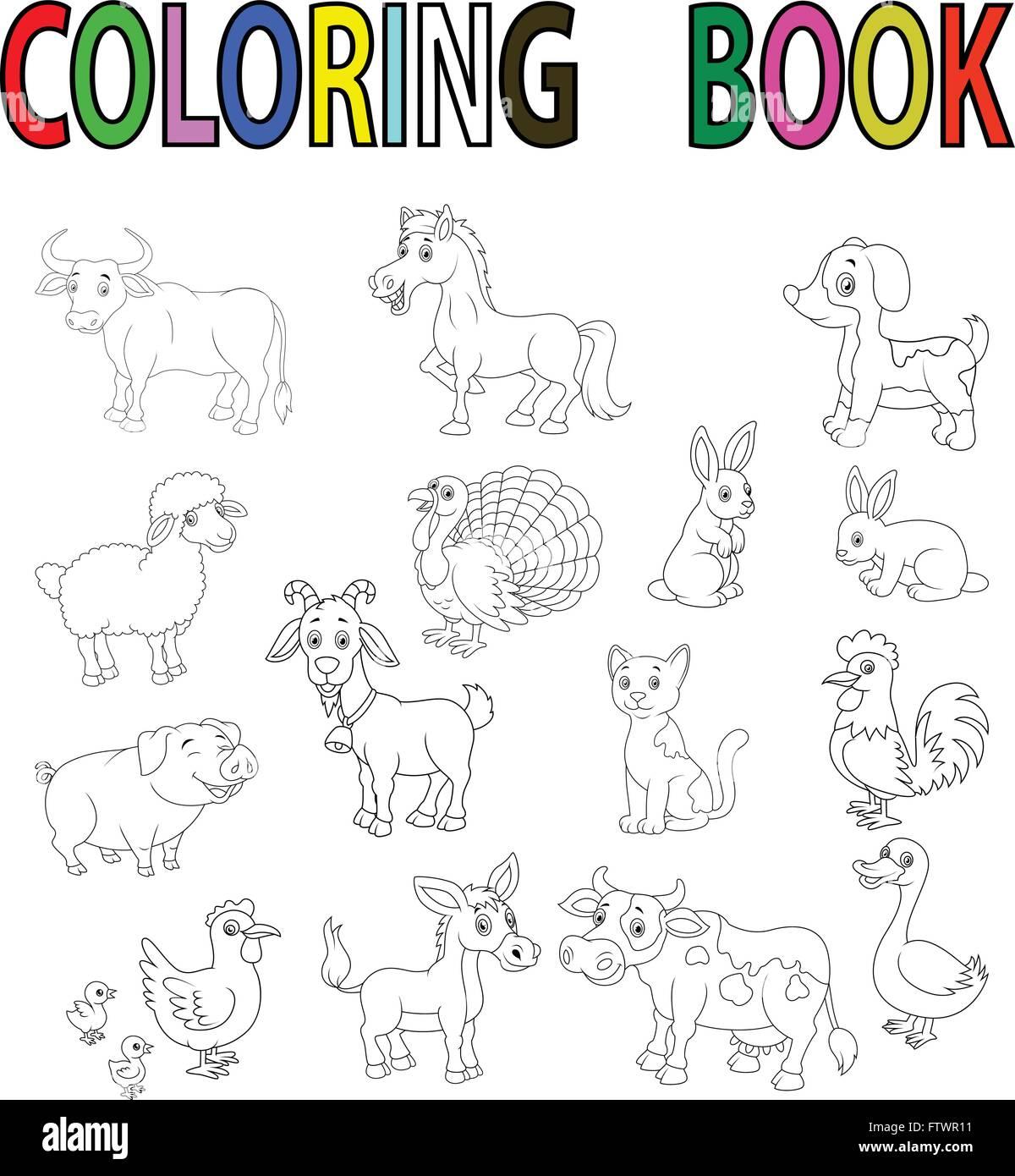 Farm animal coloring book Stock Vector Art & Illustration ...