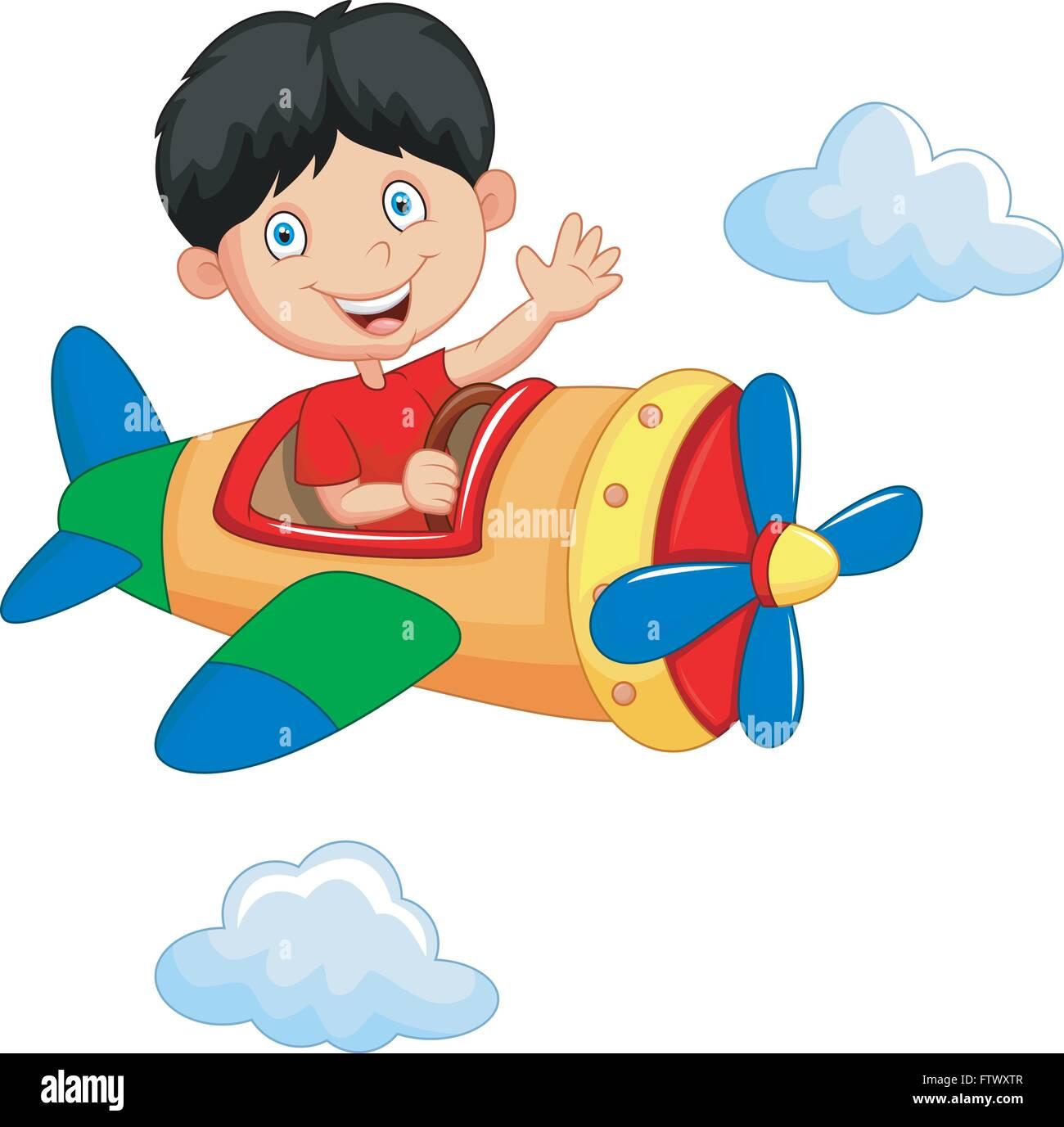 Cartoon Boy Riding Airplane Stock Vector Image Art Alamy