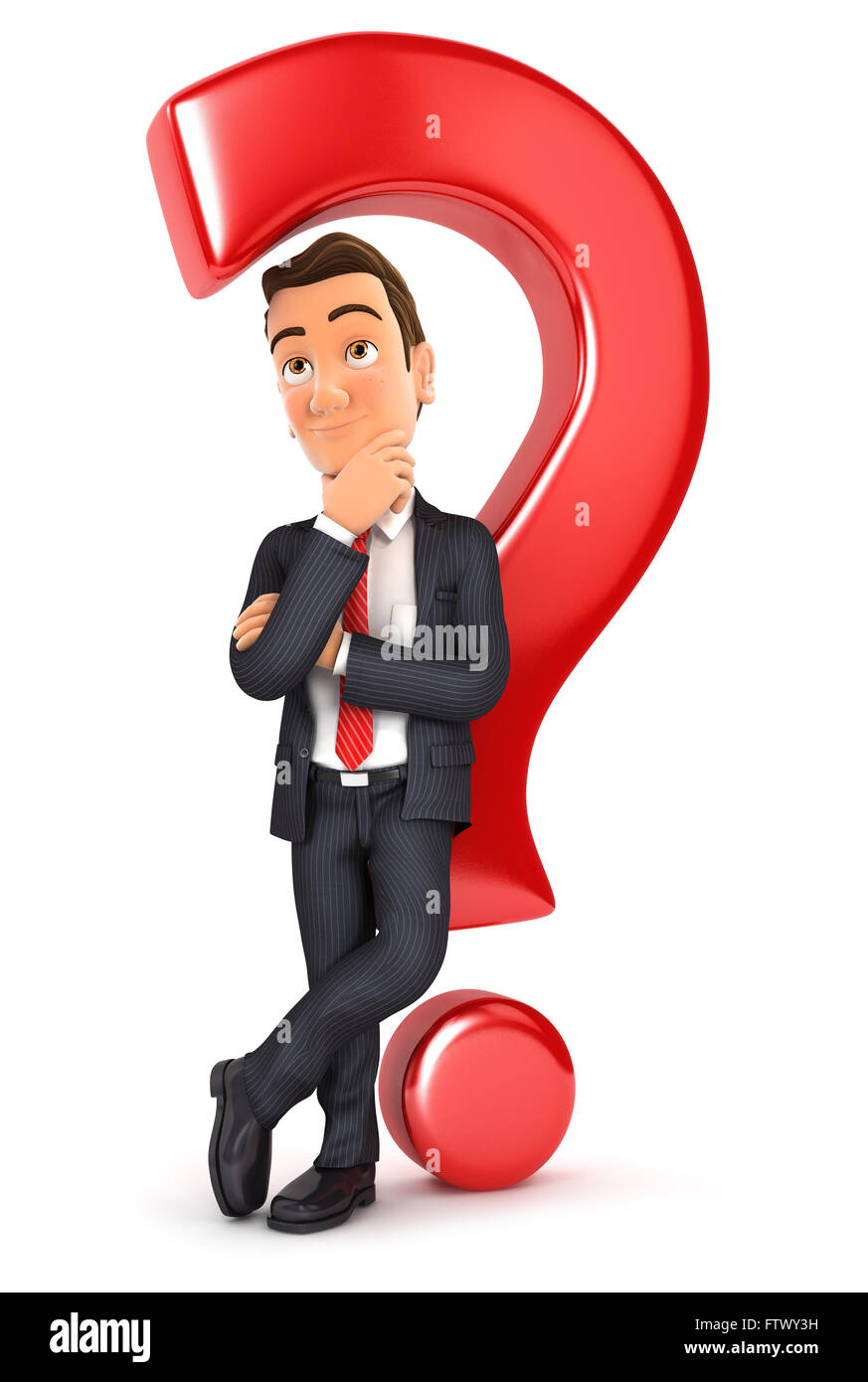 3d businessman leaning back against question mark, isolated white background Stock Photo