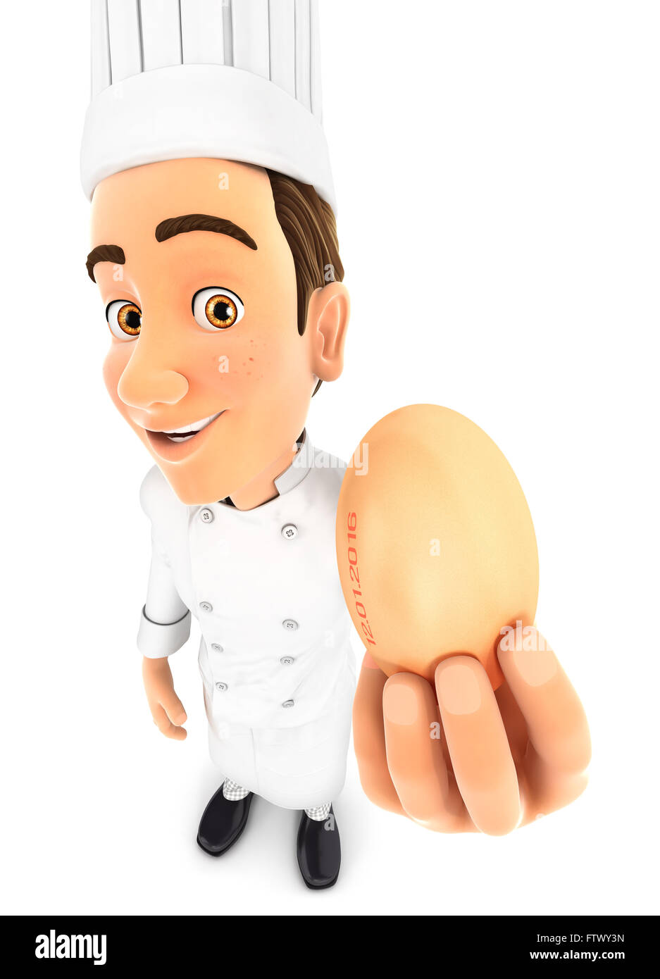 3d head chef holding an egg, isolated white background Stock Photo