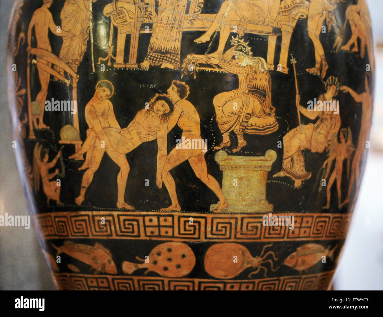 Greek art. Red-figure volute-krater. Ransom of Hector. Apulia, Southern Italy. Ca. 350 BC. The Lycurgus painter. - Stock Image