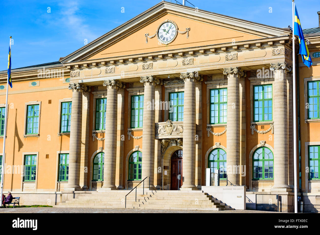 Karlskrona, Sweden - March 27, 2016: The district courthouse Blekinge Tingsratt as seen from the town square one - Stock Image