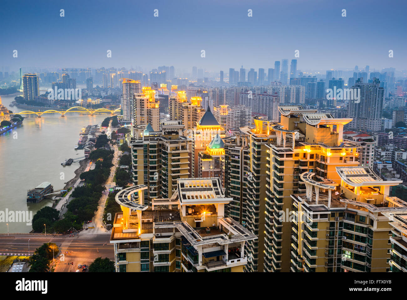 Fuzhou, China cityscape on the Min River. - Stock Image