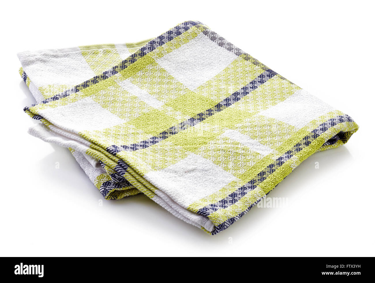 Plaid Kitchen Towel Isolated On White Background