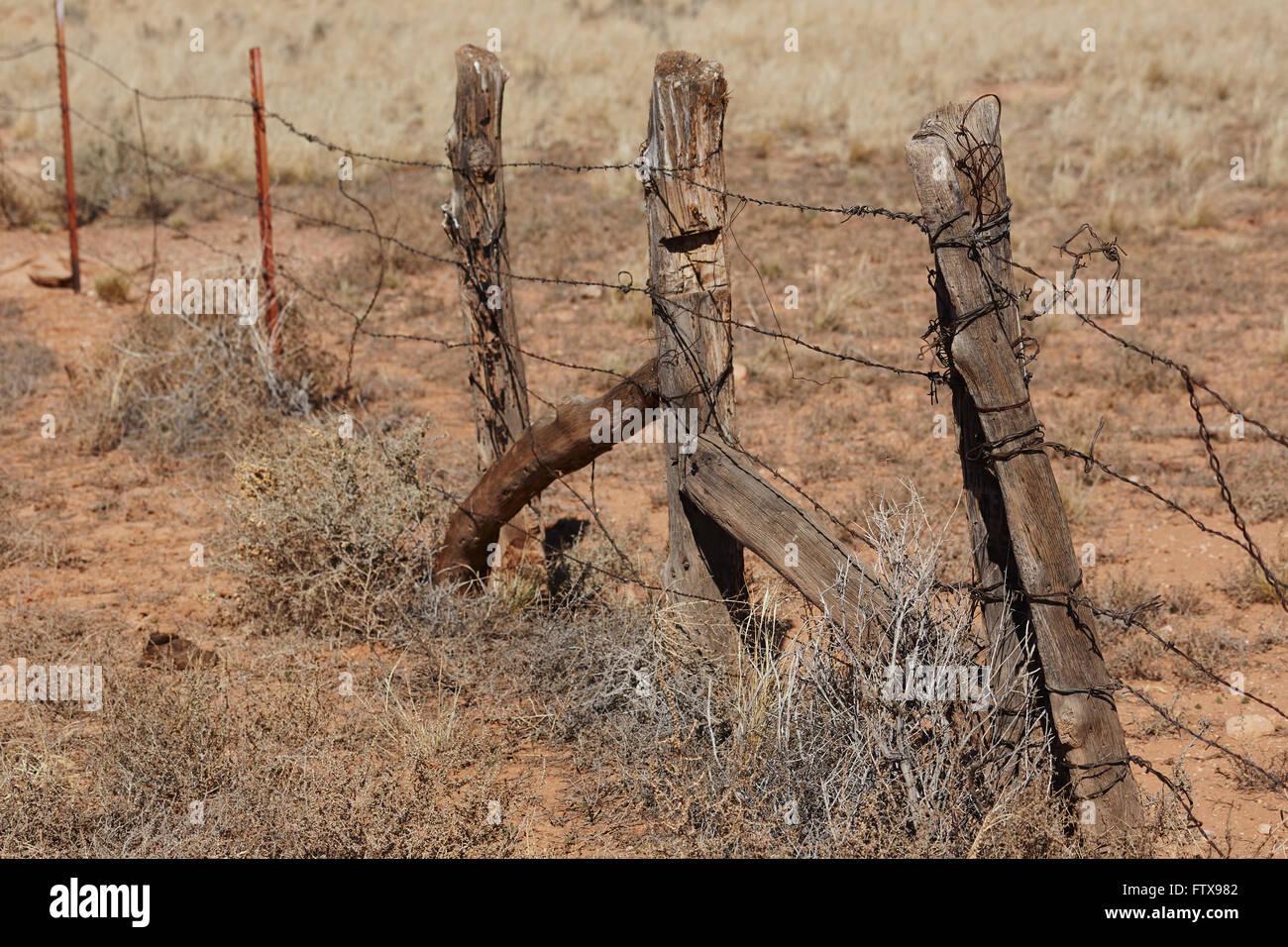 wood and barbed wire fence, Arizona, USA Stock Photo