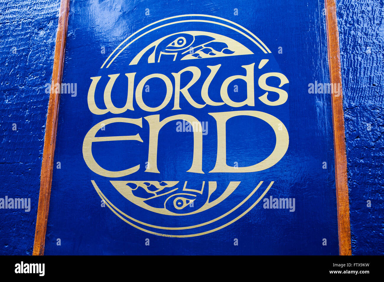 EDINBURGH, SCOTLAND - MARCH 12TH 2016: The sign for the Worlds End public house on the Royal Mile in Edinburgh, Stock Photo