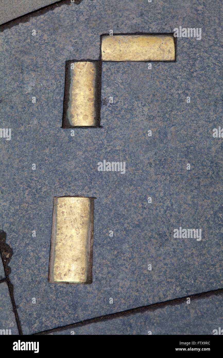 Brass cobbles marking the area where the historic Netherbow Port once stood on the Royal Mile in Edinburgh, Scotland. Stock Photo