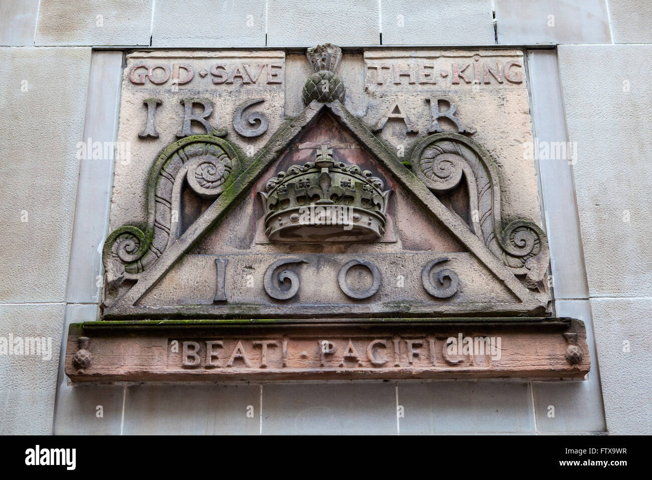 One of the old signs from Netherbow Port which once stood on the Royal Mile in Edinburgh.  The sign is now displayed Stock Photo